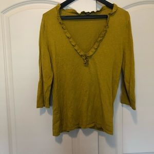 Women's mustard ruffle sweater